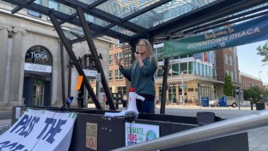 Anna Kelles joins climate activists campaigning for the emissions tax on Ithaca Commons