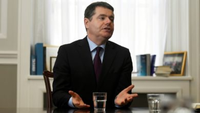 FILE PHOTO: Ireland's Minister for Finance Paschal Donohoe speaks during an interview with Reuters at the Ministry of Finance in Dublin, Ireland, February 5, 2018. REUTERS/Clodagh Kilcoyne/File Photo