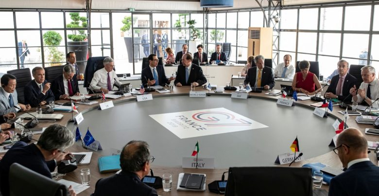 FILE PHOTO: General view of a working session during the G7 finance ministers and central bank governors meeting in Chantilly, near Paris, France, July 17, 2019. Ian Langsdon/Pool via REUTERS