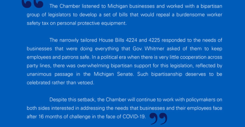 Chamber statement on Governor Whitmer's veto of sales tax relief for the safety of PPE workers