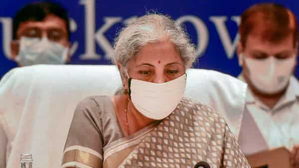 Finance Minister Nirmala Sitharaman chairs the 45th GST Council meeting in Lucknow, Friday. (PTI)